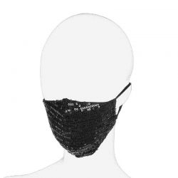 Face Mask Cover Black Sequin