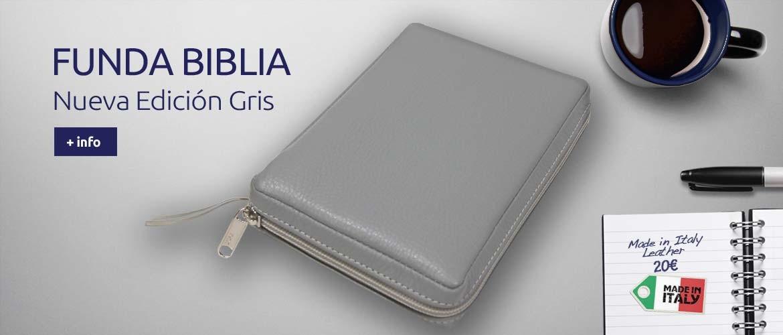 Funda Biblia Nueva Edición Gris - Piel italiana