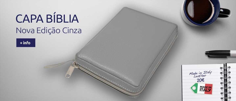 Capa da Bíblia Nova versão Cinza- Pele Italiana