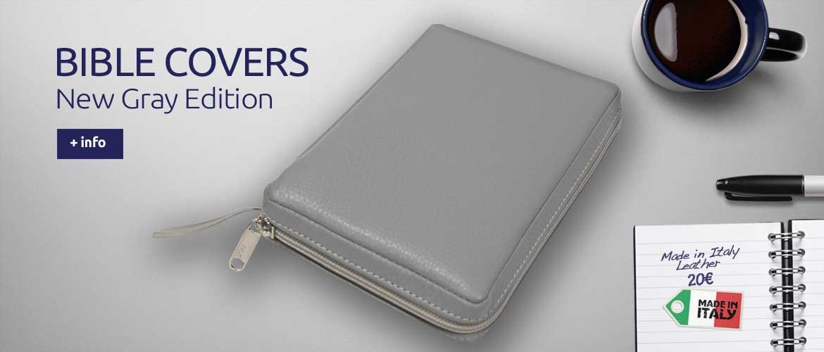 Bible Covers Gray - Italian leather